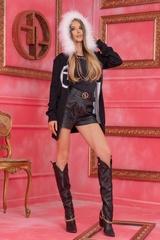 Alessa Лого Жилетка От Плетиво с подвижна качулка - Черна - Изображение 7