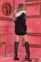 Alessa Лого Жилетка От Плетиво с подвижна качулка - Черна - Изображение 8