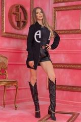 Alessa Лого Жилетка От Плетиво с подвижна качулка - Черна - Изображение 9