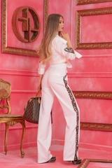 Alessa luxury панталон с широк крачол - Бял - Изображение 6