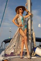 All I Want Is A Yacht Цял бански с връзки - Aqua - Изображение 7