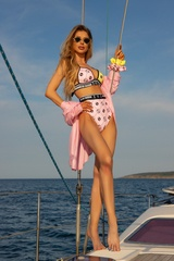 She Baller Бански Топ Триъгълници - pink-yellow - Изображение 6