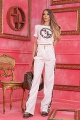 Alessa luxury панталон с широк крачол - Бял - Изображение 5