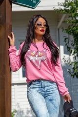 Kitty Cat Oversize Блуза - розова