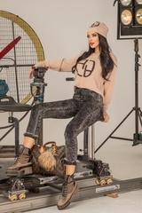 Alessa лого пуловер от плетиво - nude - Изображение 2