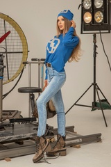Alessa лого пуловер от плетиво - син - Изображение 3