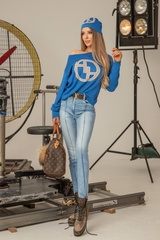 Alessa лого пуловер от плетиво - син - Изображение 5