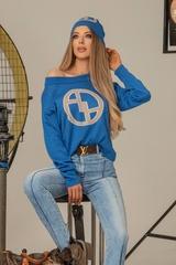 Alessa лого пуловер от плетиво - син - Изображение 6