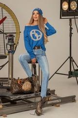 Alessa лого пуловер от плетиво - син - Изображение 7