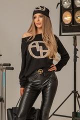 Alessa лого пуловер от плетиво - черен