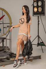 Alessa logo ruffles рокля - nude