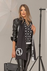 Alessa лого шал от плетиво - черно-бял - Изображение 3