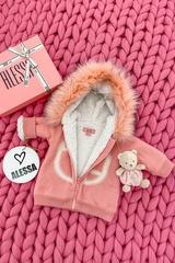 Аlessa mini яке от плетиво - pink