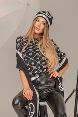 Alessa лого шал от плетиво - черно-бял - Изображение 6