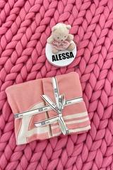 Alessa mini Лого Одеяло От Плетиво - pink