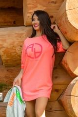 Alessa logo рокля - розов неон