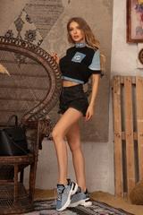 Кроп-топ T-Shirt с деним - черен - Изображение 5