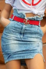 Alessa logo червен-черен колан - златна тока - Изображение 2