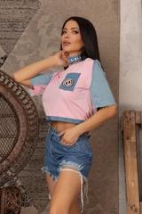 Кроп-топ t-shirt  с деним - Pink - Изображение 2