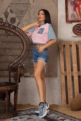 Кроп-топ t-shirt  с деним - Pink - Изображение 4