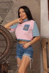 Кроп-топ t-shirt  с деним - Pink - Изображение 5
