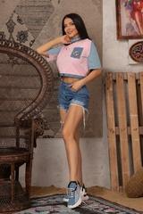 Кроп-топ t-shirt  с деним - Pink - Изображение 6