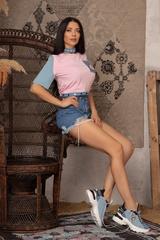 Кроп-топ t-shirt  с деним - Pink - Изображение 7