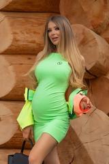 City lights bodycon рокля - зелен неон - Изображение 1