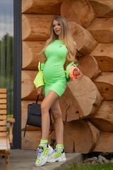 City lights bodycon рокля - зелен неон - Изображение 4