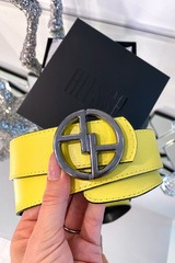 Alessa logo жълт колан - тъмен никел тока