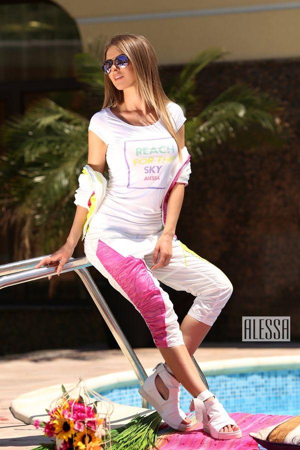 Панталон с дължина 7/8 в бяло, зелено и розово