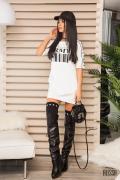 Alessa Army street рокля-туника - бяло
