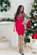 Червена къса рокля по тяло Фатално привличане - Изображение 3
