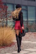 Red Attraction кожени панталонки - бордо