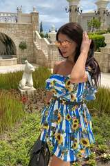 Keep on shining ruffles рокля - синьо - Изображение 2