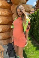 Don't care about likes рокля - оранжев неон