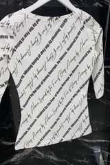 Alessa everyday блуза с 3/4 ръкав - бяла с надписи