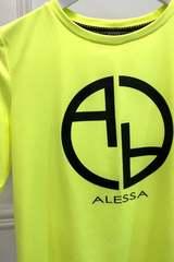 Alessa logo t-shirt - жълт неон с черен надпис