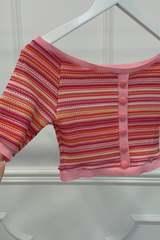 Stop and Stare къса блузка - Розовo Райе - Изображение 3
