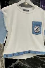 Кроп-топ T-Shirt с деним - екрю - Изображение 3